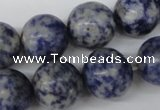 CRO424 15.5 inches 16mm round blue spot gemstone beads wholesale