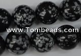 CRO426 15.5 inches 16mm round snowflake obsidian beads wholesale