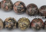 CRO446 15.5 inches 16mm round red leopard skin jasper beads wholesale