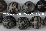 CRO451 15.5 inches 16mm round black water jasper beads wholesale