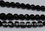 CRO702 15.5 inches 6mm � 14mm faceted round black agate beads