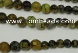 CRO703 15.5 inches 6mm � 14mm faceted round dragon veins agate beads