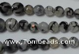 CRO704 15.5 inches 6mm � 14mm faceted round dragon veins agate beads
