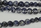 CRO733 15.5 inches 6mm � 14mm faceted round blue spot stone beads