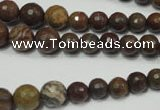 CRO735 15.5 inches 6mm � 14mm faceted round stripe jasper beads