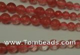 CRO745 15.5 inches 6mm � 14mm faceted round cherry quartz beads