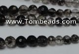 CRO749 15.5 inches 6mm � 14mm faceted round watermelon black beads