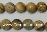 CRO764 15.5 inches 12mm faceted round picture jasper beads wholesale