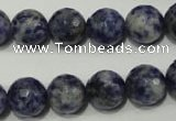 CRO774 15.5 inches 12mm faceted round blue spot stone beads wholesale