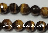 CRO785 15.5 inches 14mm faceted round yellow tiger eye beads wholesale