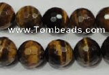 CRO786 15.5 inches 16mm faceted round yellow tiger eye beads wholesale