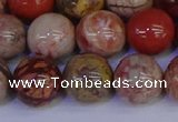 CRO875 15.5 inches 14mm round red porcelain beads wholesale