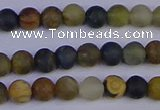 CRO910 15.5 inches 4mm round matte golden pietersite beads