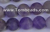 CRO925 15.5 inches 14mm round matte dogtooth amethyst beads
