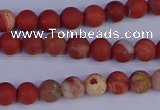 CRO930 15.5 inches 4mm round matte red jasper beads wholesale
