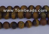 CRO960 15.5 inches 4mm round matte yellow tiger eye beads wholesale