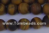 CRO964 15.5 inches 12mm round matte yellow tiger eye beads wholesale