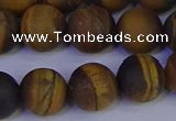 CRO965 15.5 inches 14mm round matte yellow tiger eye beads wholesale