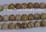 CRO970 15.5 inches 4mm round matte picture jasper beads wholesale