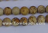 CRO971 15.5 inches 6mm round matte picture jasper beads wholesale