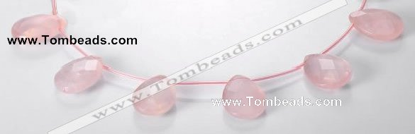 CRQ06 19*25mm faceted teardrop A grade natural rose quartz beads