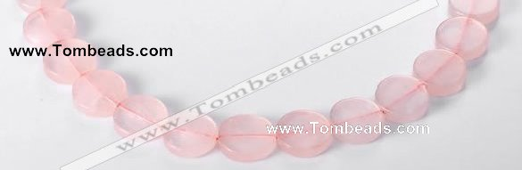 CRQ10 16mm coin A grade natural rose quartz beads Wholesale