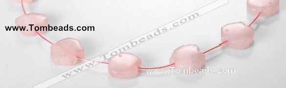 CRQ12 18*19mm pig-shaped A grade natural rose quartz beads