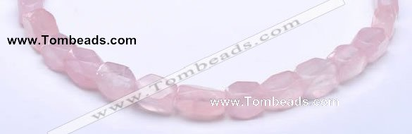 CRQ20 faceted brick shape natural rose quartz beads Wholesale