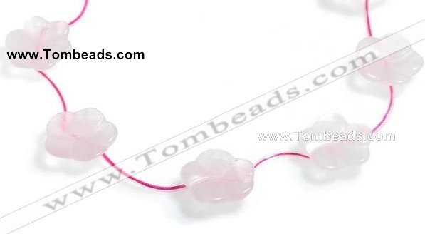 CRQ21 17 inches 24mm carved flower rose quartz beads Wholesale
