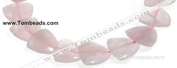 CRQ22 16 inches 25mm triangle rose quartz beads Wholesale