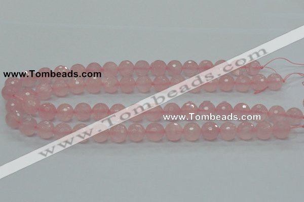 CRQ31 15.5 inches 12mm faceted round natural rose quartz beads