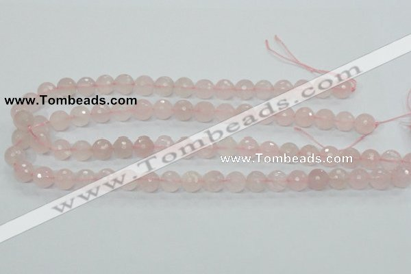 CRQ34 15.5 inches 10mm faceted round natural rose quartz beads