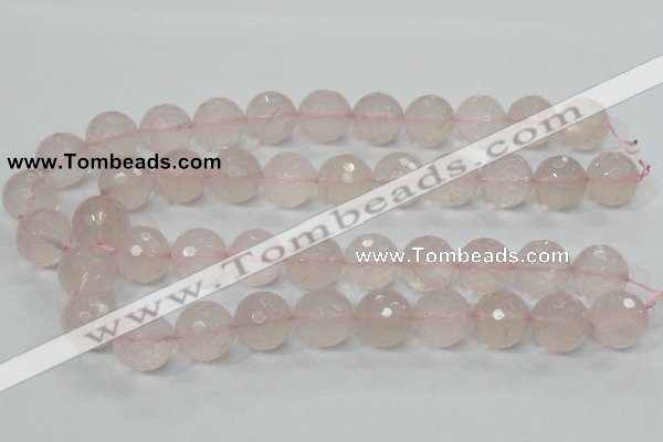 CRQ38 15.5 inches 18mm faceted round natural rose quartz beads