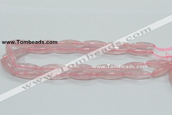 CRQ40 15.5 inches 10*30mm faceted rice natural rose quartz beads