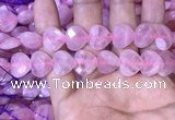 CRQ434 15.5 inches 14*14mm faceted heart rose quartz beads wholesale