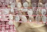 CRQ562 Top drilled 12*16mm faceted briolette rose quartz beads