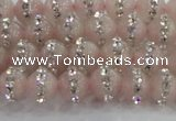 CRQ820 15.5 inches 6mm round rose quartz with rhinestone beads