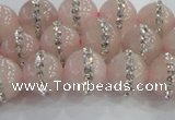CRQ821 15.5 inches 8mm round rose quartz with rhinestone beads