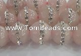 CRQ822 15.5 inches 10mm round rose quartz with rhinestone beads