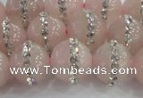 CRQ823 15.5 inches 12mm round rose quartz with rhinestone beads