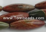 CRS102 15.5 inches 12*40mm rice rainbow jasper stone beads