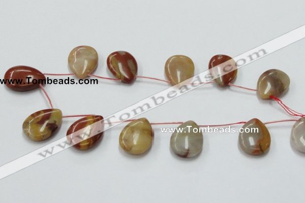 CRS12 15.5 inches 20*30mm flat teardrop rainbow stone beads