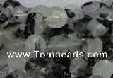 CRU02 15.5 inches 10mm faceted flat round black rutilated quartz beads
