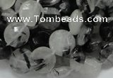 CRU03 15.5 inches 12mm faceted flat round black rutilated quartz beads