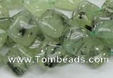 CRU103 15.5 inches 12*12mm diamond green rutilated quartz beads