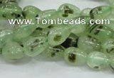 CRU104 15.5 inches 7*10mm teardrop green rutilated quartz beads