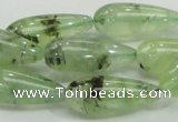 CRU106 15.5 inches 10*25mm teardrop green rutilated quartz beads
