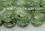 CRU110 15.5 inches 16mm flat round green rutilated quartz beads