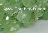 CRU119 15.5 inches 13*17mm faceted freeform green rutilated quartz beads
