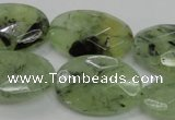 CRU140 15.5 inches 20*30mm faceted oval green rutilated quartz beads